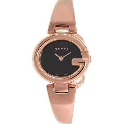 Gucci YA134509 Gucci 'Guccissima' Swiss Quartz Rose Gold Stainless Steel Bangle Watch