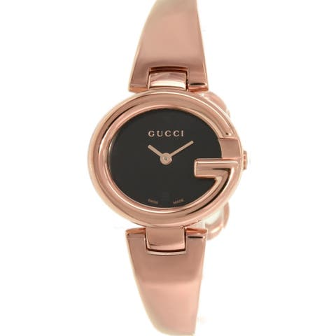 Gucci YA134509 Gucci 'Guccissima' Swiss Quartz Rose Gold Stainless Steel Bangle Watch
