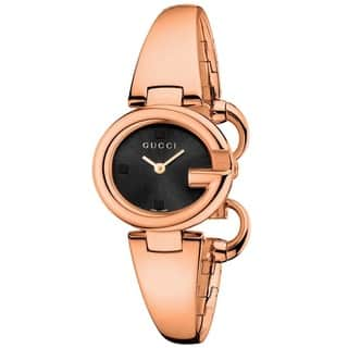 Gucci YA134509 Gucci 'Guccissima' Swiss Quartz Rose Gold Stainless Steel Bangle Watch|https://ak1.ostkcdn.com/images/products/9772562/P16942645.jpg?impolicy=medium