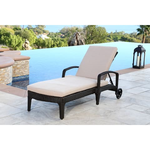 Abbyson Newport Outdoor Wicker Chaise Lounge with Cushion