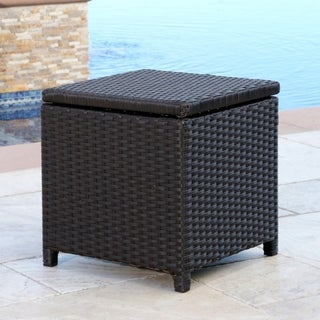 Abbyson Newport Outdoor Espresso Wicker Storage Ottoman