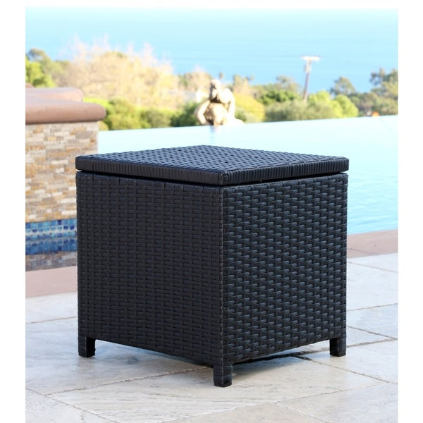 Abbyson Newport Outdoor Black Wicker Storage Ottoman - Abbyson Newport Outdoor Black Wicker Storage Ottoman - Free