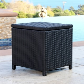 Abbyson Newport Outdoor Black Wicker Storage Ottoman