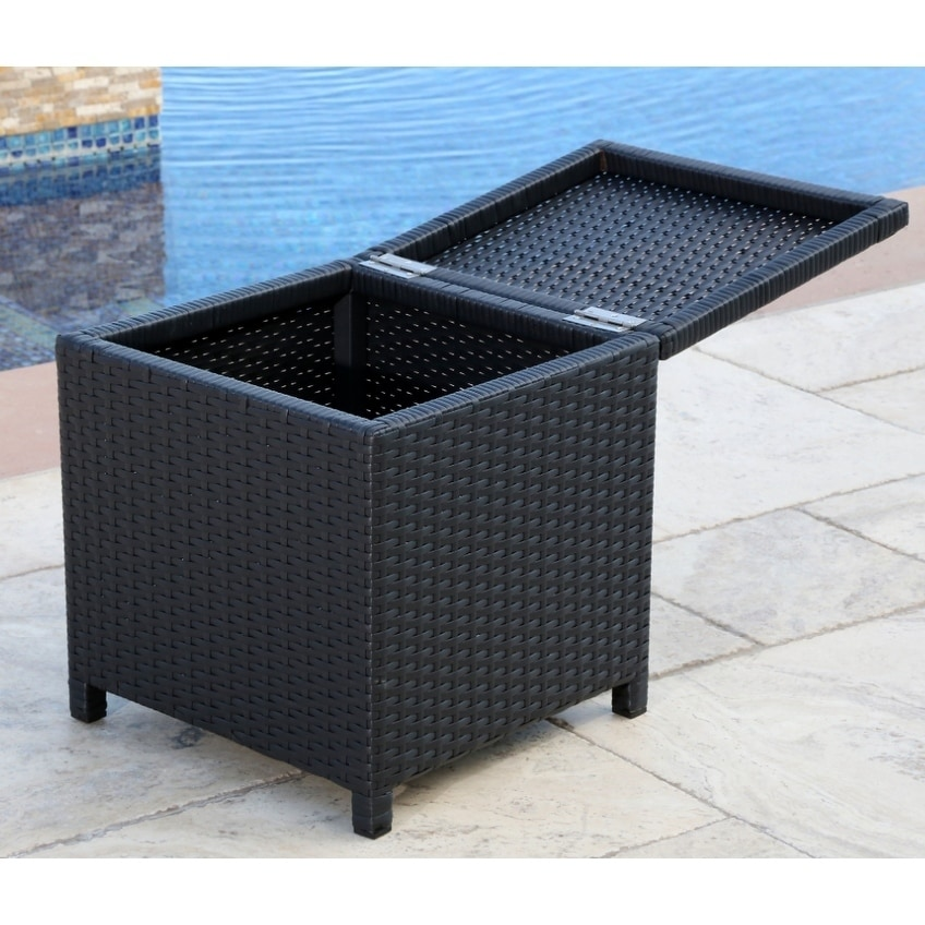 Brilliant Abbyson Newport Outdoor Black Wicker Storage Ottoman Caraccident5 Cool Chair Designs And Ideas Caraccident5Info