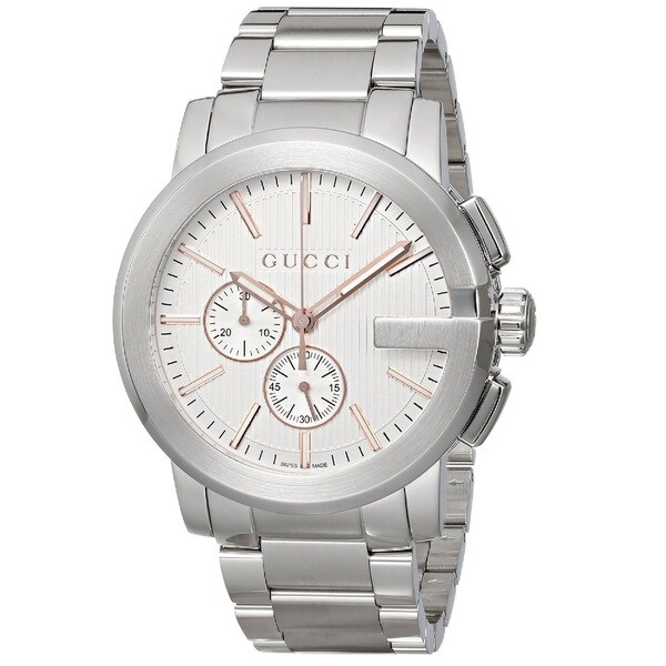dc5184697ab Shop Gucci Men s YA101201  Gucci G Chrono  Chronograph Swiss Quartz  Stainless Steel Watch - Free Shipping Today - Overstock - 9772573