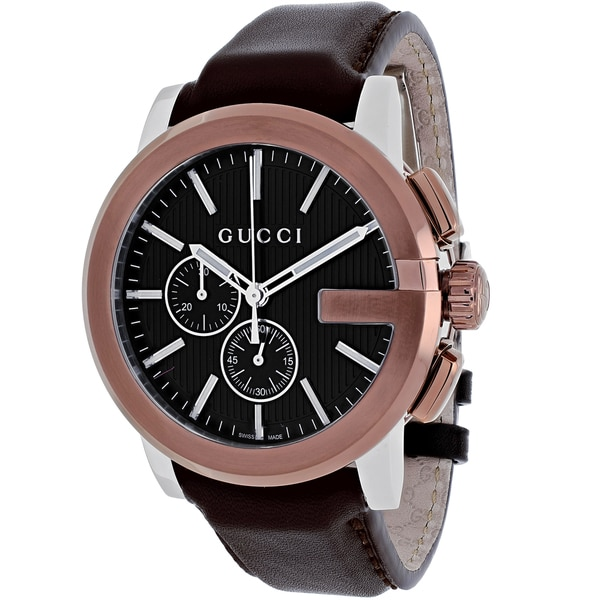 8a16bd67126 Shop Gucci Men s YA101202  Gucci G Chrono Swiss Quartz Brown Leather Watch  - Free Shipping Today - Overstock - 9772575