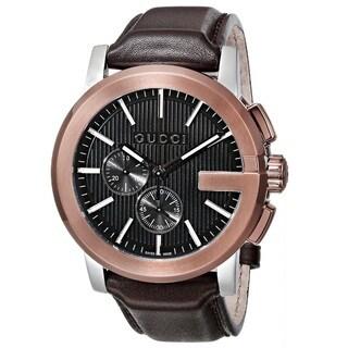 Gucci Men's YA101202 'Gucci G Chrono'Swiss Quartz Brown Leather Watch