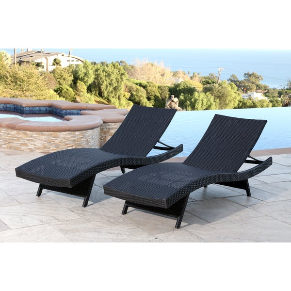 Abbyson palermo outdoor black wicker chaise set free for Belmont black wicker patio chaise lounge
