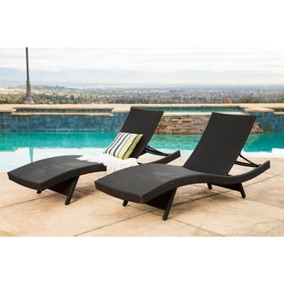 Abbyson Palermo Outdoor Black Wicker Chaise Set