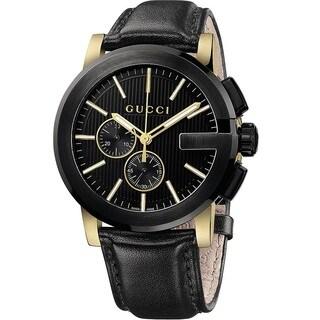 Gucci Men's YA101203 'Gucci G Chrono' Swiss Quartz Black Leather Watch