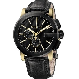 Gucci Men's YA101203 'Gucci G Chrono' Swiss Quartz Black Leather Watch