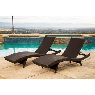 Abbyson Palermo Outdoor Espresso Wicker Chaise Lounge Set of 2