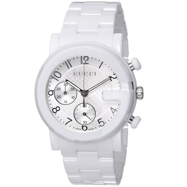 df6b2535d Shop Gucci Men's YA101353 'Gucci G Chrono' Swiss Quartz White Ceramic Watch  - Free Shipping Today - Overstock - 9772587