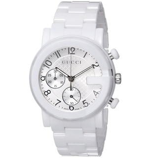 Gucci Men's YA101353 'Gucci G Chrono' Swiss Quartz White Ceramic Watch