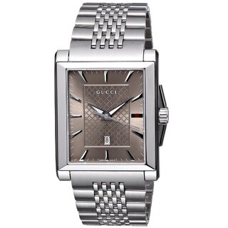 Gucci Men's YA138402 'G-Timeless' Rectangle Swiss Quartz Stainless Steel Watch
