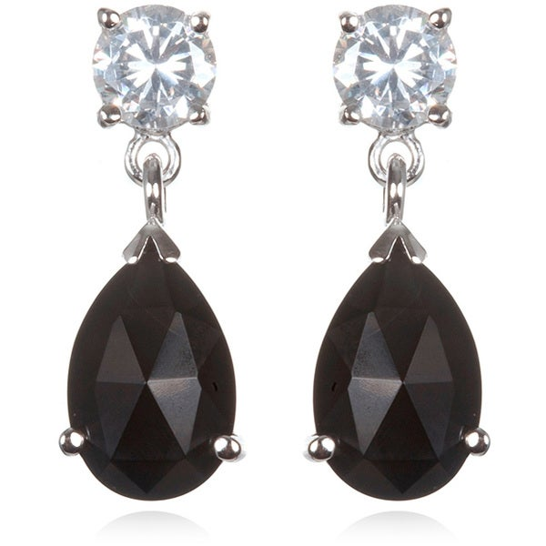 6018e82f3 Sterling Silver 1 1/2ct TGW Cubic Zirconia and Pear-cut Black Onyx Drop