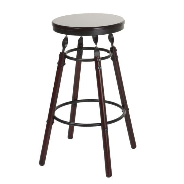 Leggett & Platt Boston Wood Bar or Counter Stool with Dark Cherry Backless Seat