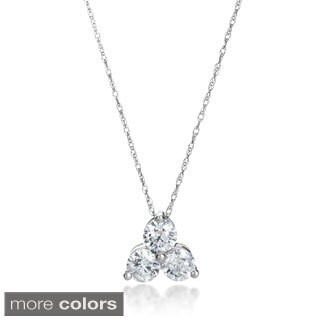 SummerRose 14k Gold 1ct TDW 3-stone Diamond Pendant Necklace