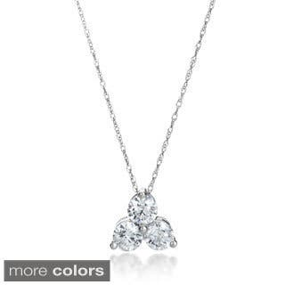 Buy three stone diamond necklaces online at overstock our best summerrose 14k gold 1ct tdw 3 stone diamond pendant necklace aloadofball Gallery