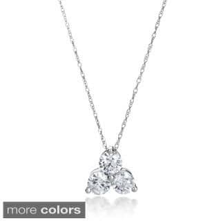 Three stone diamond necklaces for less overstock summerrose 14k gold 1ct tdw 3 stone diamond pendant necklace 2 options available aloadofball Gallery