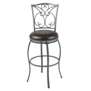 Columbia Metal Barstool with Chocolate Upholstered Swivel-Seat