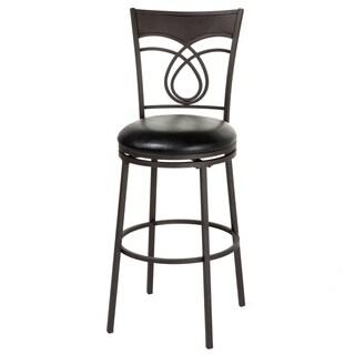 Madison Metal Barstool with Black Upholstered Swivel-Seat