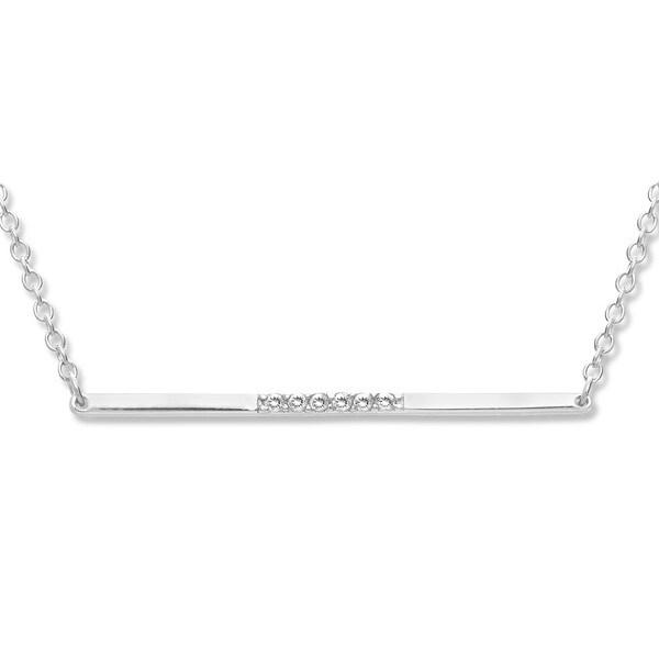 La Preciosa Sterling Silver Cubic Zirconia Center Bar Necklace