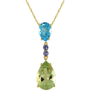 Beverly Hills Charm 14K Yellow Gold 7 1/2ct Tanzanite, Green Amethyst and Blue Topaz Dangling Necklace