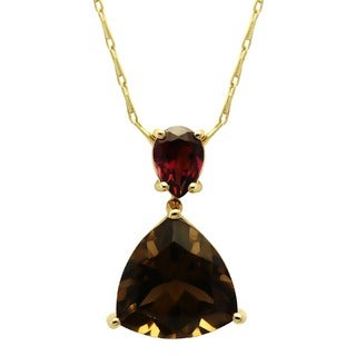 Beverly Hills Charm 14K Yellow Gold Garnet and Smokey Quartz Necklace