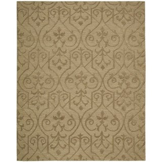 Hand-knotted Nourison Ambrose Khaki Area Rug (7'9 x 9'9)