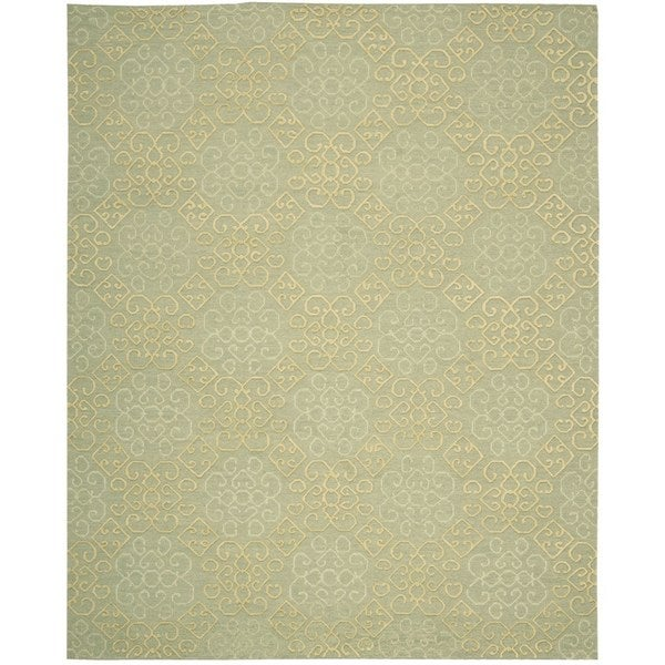 Hand-knotted Nourison Ambrose Light Green Area Rug (7'9 x 9'9)