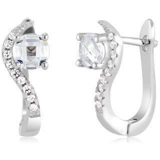 Sterling Silver Round-cut Cubic Zirconia Hoop Earrings