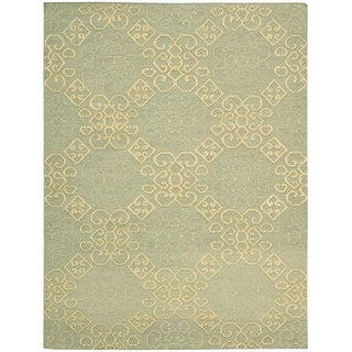 Hand-knotted Nourison Ambrose Light Green Area Rug (5'6 x 7'5)