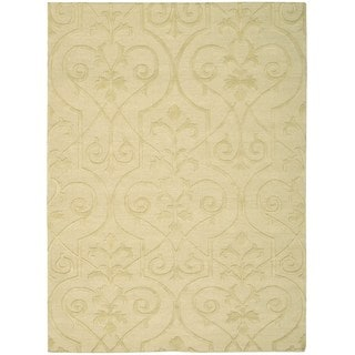 Hand Woven Yellow Nourison Ambrose Straw Area Rug (3'9 x 5'9)