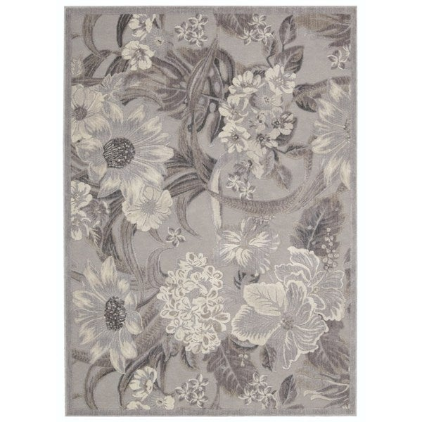 Nourison Graphic Illusions Grey Machine Made Area Rug (2'3 x 8')