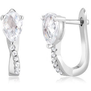 Sterling Silver Pear-cut Cubic Zirconia Twist Hoop Earrings