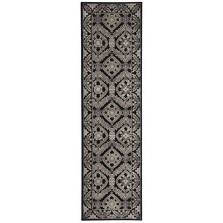 Hand-carved Graphic Illusions Black Ikat Rug (2'3 x 8')