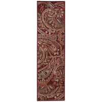 Hand-crafted Graphic Illusions Red Paisley Rug (2'3 x 8')