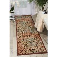 Hand-carved Graphic Illusions Chocolate Rug (2'3 x 8')