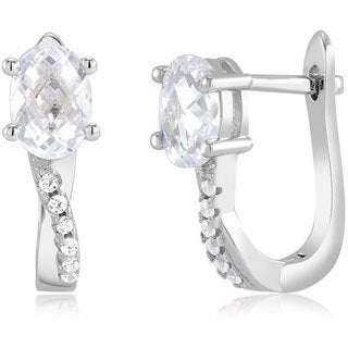 Sterling Silver Oval-cut Cubic Zirconia Hoop Earrings