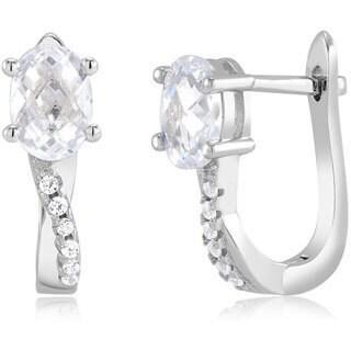 Sterling Silver Oval-cut Cubic Zirconia Hoop Earrings