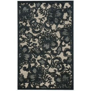 Nourison Graphic Illusions Pewter Floral Rug (2'3 x 3'9)