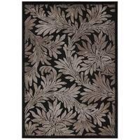 Nourison Graphic Illusions Black Floral Rug