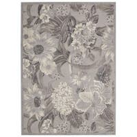 Nourison Graphic Illusions Grey Floral Rug