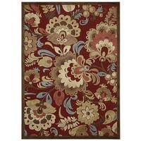 Nourison Graphic Illusions Red Floral Rug (5'3 x 7'5)