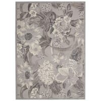 Nourison Graphic Illusions Grey Floral Rug (7'9 x 10'10)