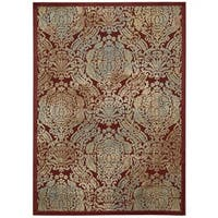 Nourison Graphic Illusions Red Graphic Rug (5'3 x 7'5) - 5'3 x 7'5