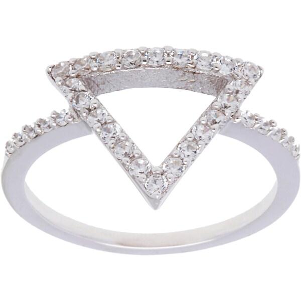 La Preciosa Sterling Silver CZ Triangle Ring