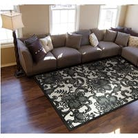 Nourison Graphic Illusions Pewter Floral Rug
