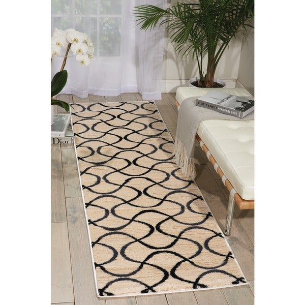 Nourison Nova Cream Abstract Rug (2'2 x 7'3) - 2'2 x 7'3